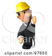Royalty Free RF Clipart Illustration Of A 3d Male Architect Looking Around A Blank Sign