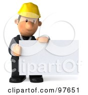 Royalty Free RF Clipart Illustration Of A 3d Male Architect Looking Down At A Blank Business Card