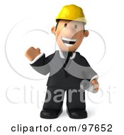 3d Male Architect Waving And Carrying His Plans