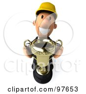 Royalty Free RF Clipart Illustration Of A 3d Male Architect Holding Up A Golden Trophy
