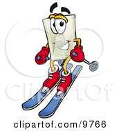 Clipart Picture Of A Light Switch Mascot Cartoon Character Skiing Downhill by Toons4Biz