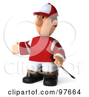 Royalty Free RF Clipart Illustration Of A 3d Jockey Man Standing And Facing Left by Julos