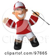 Royalty Free RF Clipart Illustration Of A 3d Jockey Man Jumping by Julos