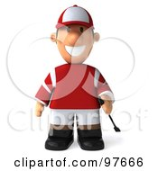 Royalty Free RF Clipart Illustration Of A 3d Jockey Man Standing And Facing Front by Julos