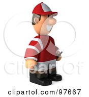 Royalty Free RF Clipart Illustration Of A 3d Jockey Man Standing And Facing Right by Julos