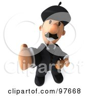 Royalty Free RF Clipart Illustration Of A 3d French Businessman Holding Bread And Gesturing With His Thumb Up