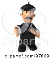 Royalty Free RF Clipart Illustration Of A 3d French Businessman Holding Bread And Gesturing With His Thumb Down