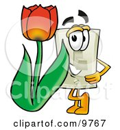 Light Switch Mascot Cartoon Character With A Red Tulip Flower In The Spring