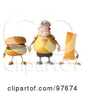 3d Chubby Burger Man Holding Hands With A Burger And French Fry And Facing Front