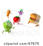 Royalty Free RF Clipart Illustration Of A 3d Cheeseburger Running Away From Healthy Veggies