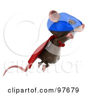 3d Chester Mouse Super Hero Flying Right