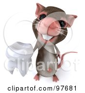 3d Chester Mouse Holding Up A Tooth