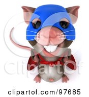 Royalty Free RF Clipart Illustration Of A 3d Chester Mouse Super Hero Smiling Upwards