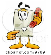 Clipart Picture Of A Light Switch Mascot Cartoon Character Holding A Telephone by Toons4Biz