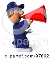 Royalty Free RF Clipart Illustration Of A 3d Toon Guy Auto Mechanic Facing Right And Announcing