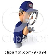 Royalty Free RF Clipart Illustration Of A 3d Toon Guy Auto Mechanic Facing Right And Using A Magnifying Glass