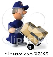 Royalty Free RF Clipart Illustration Of A 3d Toon Guy Auto Mechanic Facing Right And Pushing Boxes On A Dolly