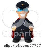 Royalty Free RF Clipart Illustration Of A 3d Police Toon Guy Super Hero Facing Front