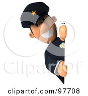 Royalty Free RF Clipart Illustration Of A 3d Police Toon Guy Grinning Around A Blank Sign