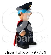 3d Police Toon Guy Super Hero Facing Right