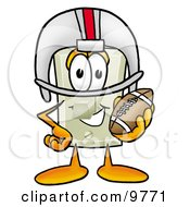 Clipart Picture Of A Light Switch Mascot Cartoon Character In A Helmet Holding A Football by Toons4Biz