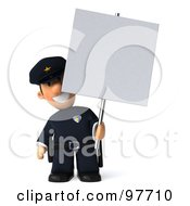 Royalty Free RF Clipart Illustration Of A 3d Police Toon Guy Holding Up A Blank Sign Board