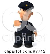 3d Police Toon Guy Facing Front And Gesturing To Stop