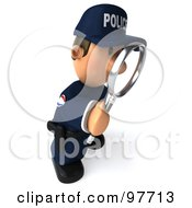 3d Police Toon Guy Facing Right And Using A Magnifying Glass