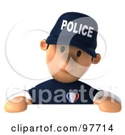 3d Police Toon Guy Gazing Down At A Blank Sign