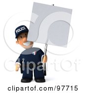Royalty Free RF Clipart Illustration Of A 3d Police Toon Guy Holding A Blank Sign Board