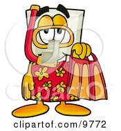 Clipart Picture Of A Light Switch Mascot Cartoon Character In Orange And Red Snorkel Gear