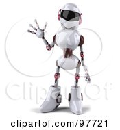 Royalty Free RF Clipart Illustration Of A 3d Female Techno Robot Facing Front And Waving by Julos