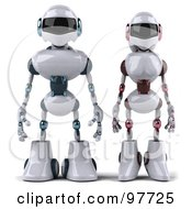 Royalty Free RF Clipart Illustration Of A 3d Techno Robot Standing Beside A Female Techno Robot by Julos