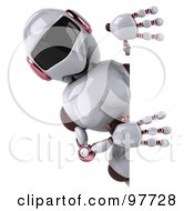 Royalty Free RF Clipart Illustration Of A 3d Female Techno Robot Looking Around A Blank Sign by Julos