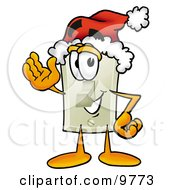 Clipart Picture Of A Light Switch Mascot Cartoon Character Wearing A Santa Hat And Waving by Toons4Biz