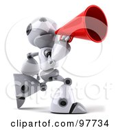 Royalty Free RF Clipart Illustration Of A 3d Robot Boy Character Lunging Right And Announcing