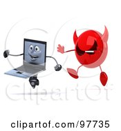 Royalty Free RF Clipart Illustration Of A 3d Black Laptop Character Running Away From A Devil