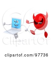 3d White Laptop Character Running Away From A Devil