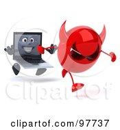 3d Black Laptop Character Running After A Devil