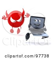 Royalty Free RF Clipart Illustration Of A 3d Black Laptop Character Running From A Devil