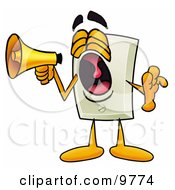 Light Switch Mascot Cartoon Character Screaming Into A Megaphone