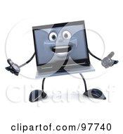 3d Black Laptop Character Facing Forward And Gesturing