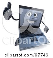 3d Black Laptop Character Holding A Thumb Up