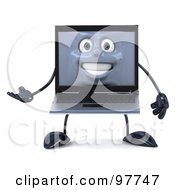 Royalty Free RF Clipart Illustration Of A 3d Black Laptop Character Facing Front And Gesturing by Julos