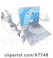 3d White Laptop Character Giving The Thumbs Up And Holding A Wrench