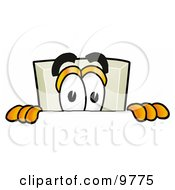 Clipart Picture Of A Light Switch Mascot Cartoon Character Peeking Over A Surface by Toons4Biz