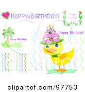 Digital Collage Of Palm Tree Flower And Bird Birthday Elements