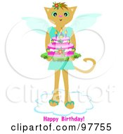 Royalty Free RF Clipart Illustration Of A Standing Angel Cat On A Cloud Carrying A Cake With Happy Birthday Text by bpearth