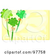 Royalty Free RF Clipart Illustration Of Three Clovers On A White Box With A White Border by bpearth