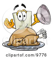 Clipart Picture Of A Light Switch Mascot Cartoon Character Serving A Thanksgiving Turkey On A Platter by Toons4Biz